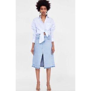 Zara Denim/Jean Midi Skirt || Small
